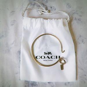Coach Gold Charm Base Hinged Hoop Bangle Bracelet